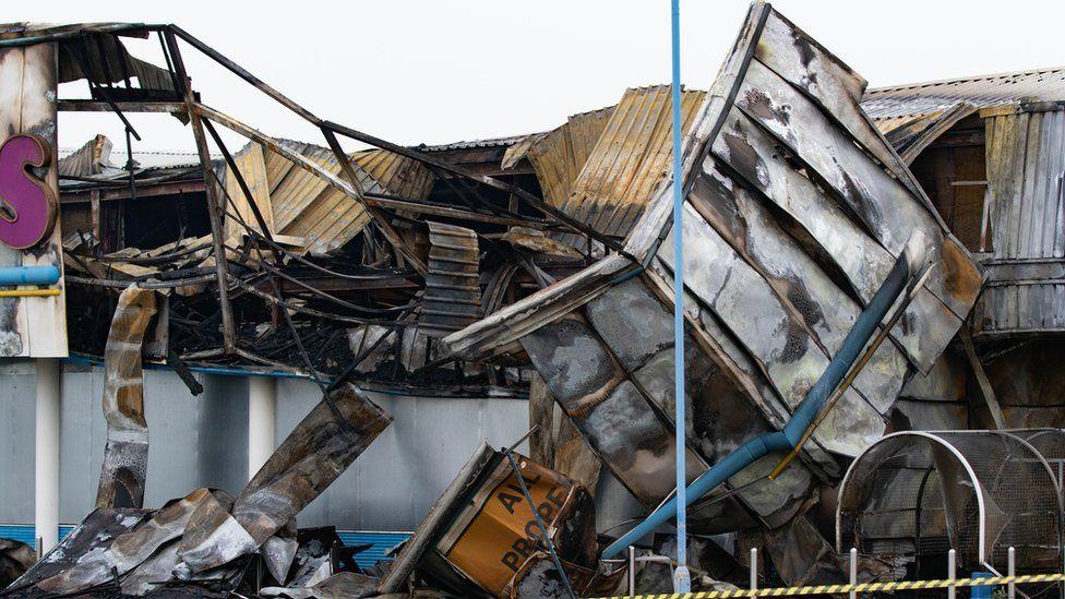 Damaged Toys R Us building