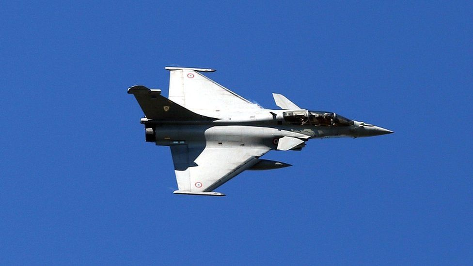 A French Air Force Rafale fighter jet takes part in a joint military drill in Greece in February 2021