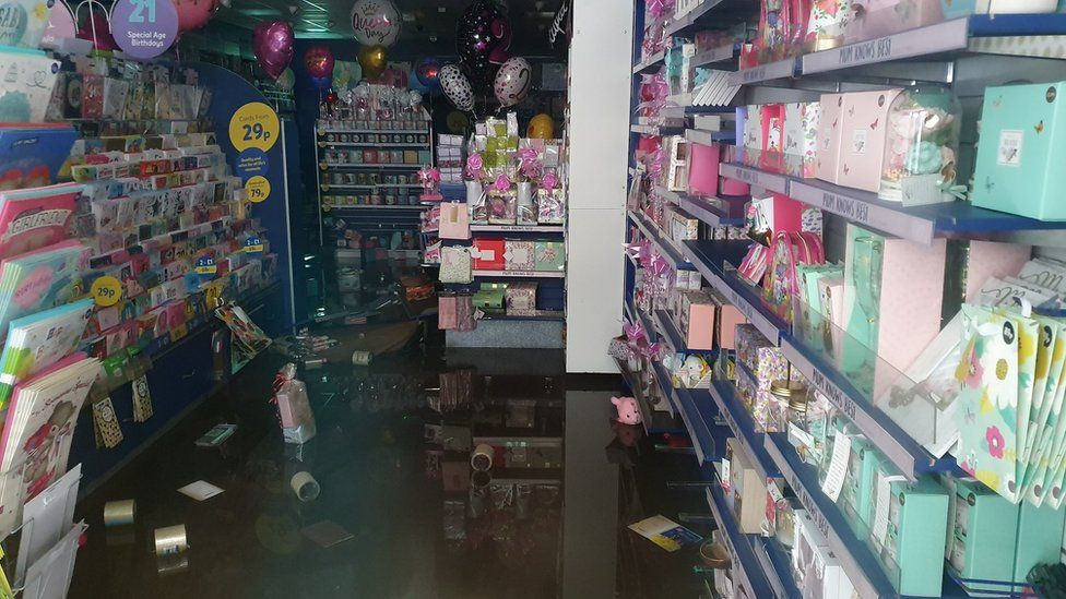 A card shop in Pontypridd was flooded during the storm