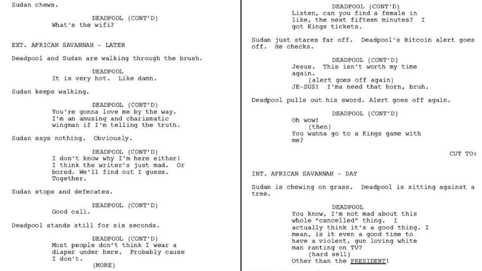 Two pages from the Deadpool script