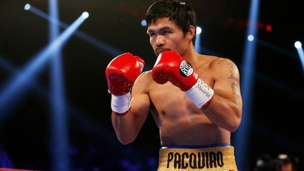Manny Pacquiao boxing in Las Vegas (9 April 2016)