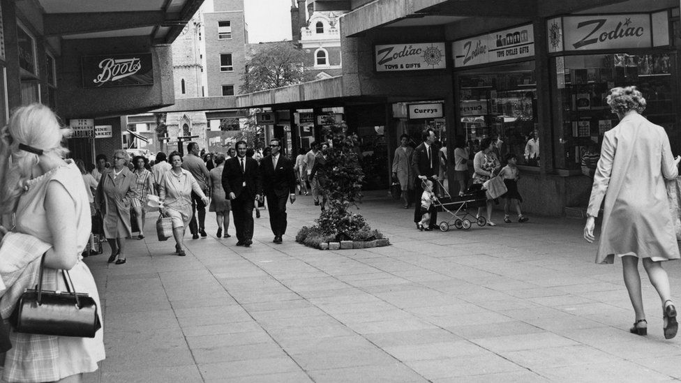 Shops including Boots, Currys and Zodiac in the Friars Square Shopping Centre in Aylesbury in 1970