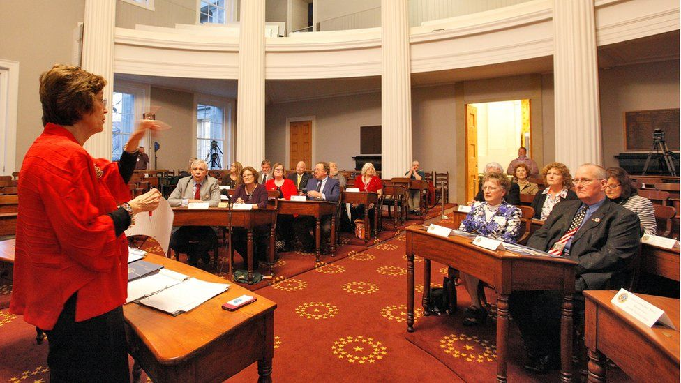 North Carolina electors are instructed about procedural matters during a rehearsal for the electoral college vote at the state capitol in Raleigh, on 18 December 2016