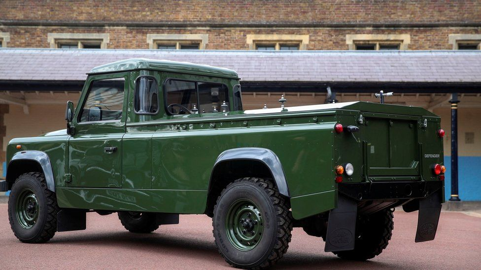 Modified Jaguar Land Rover which will carry Prince Philip's coffin