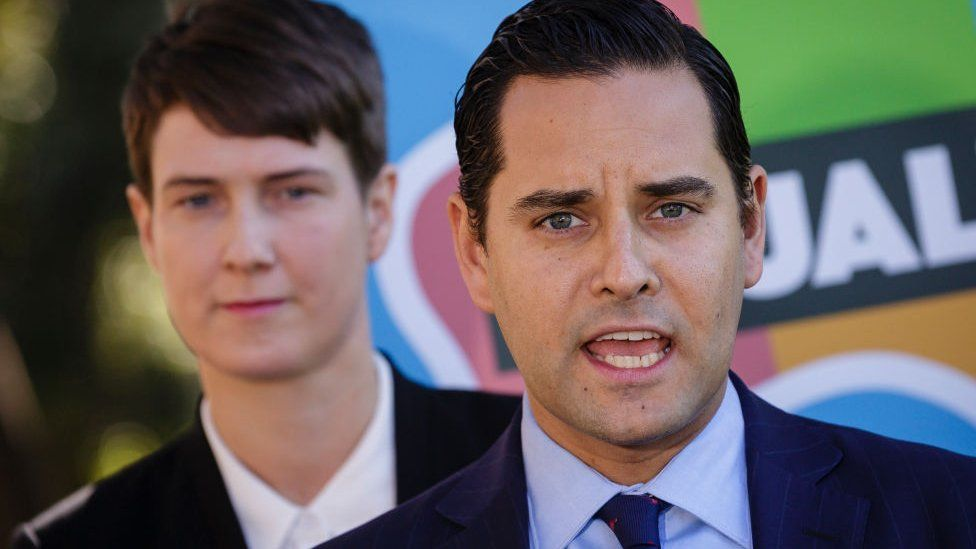 Anna Brown from the Human Rights Law Centre and plaintiff Alex Greenwich from Australian Marriage Equality