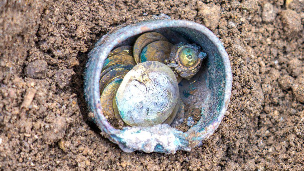 The rare cache found on a site in the ancient Israeli port of Caesarea