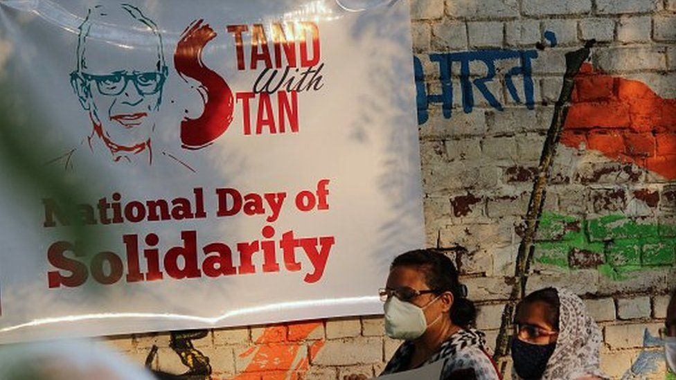 Social activists and members of Civil Society Organisations protest against the arrest of Stan Swamy by National Investigative Agency (NIA).