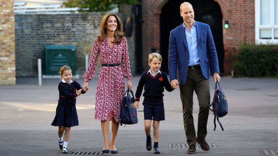 Princess Charlotte arrives for her first day at school accompanied by her mother Catherine, Duchess of Cambridge, father Prince William, Duke of Cambridge, and brother Prince George, at Thomas's Battersea in London, Britain September 5, 2019