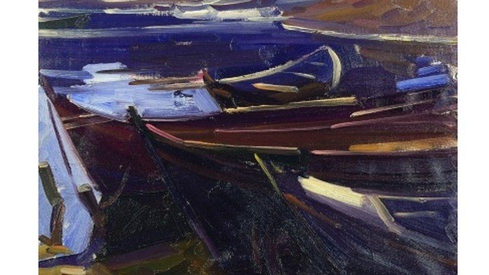Dark boats, Martigues, by John Cyrlas Williams