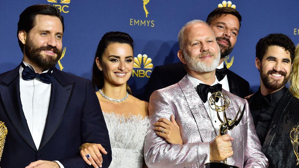 Edgar Ramirez, Penelope Cruz, director Ryan Murphy, Ricky Martin, and Darren Criss