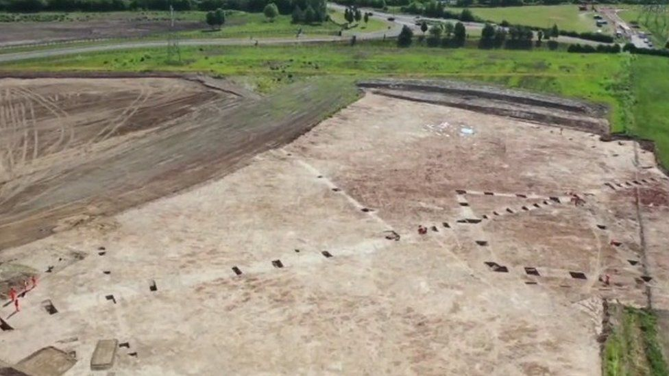 Aerial view of the excavations near the banks of the River Cole, Coleshill.
