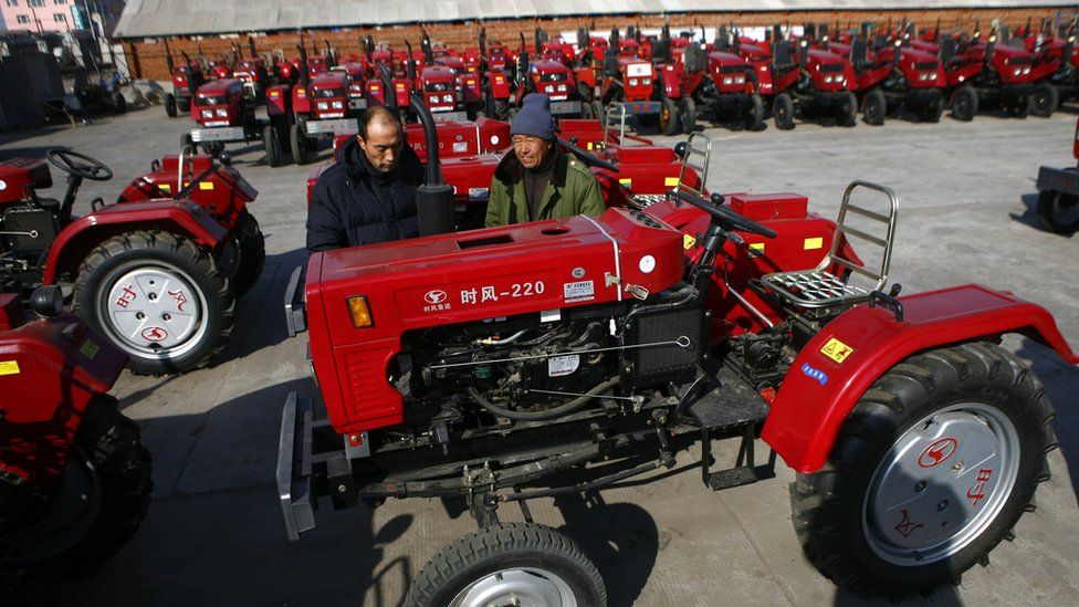 Tractors outside a Chinese tractor factory