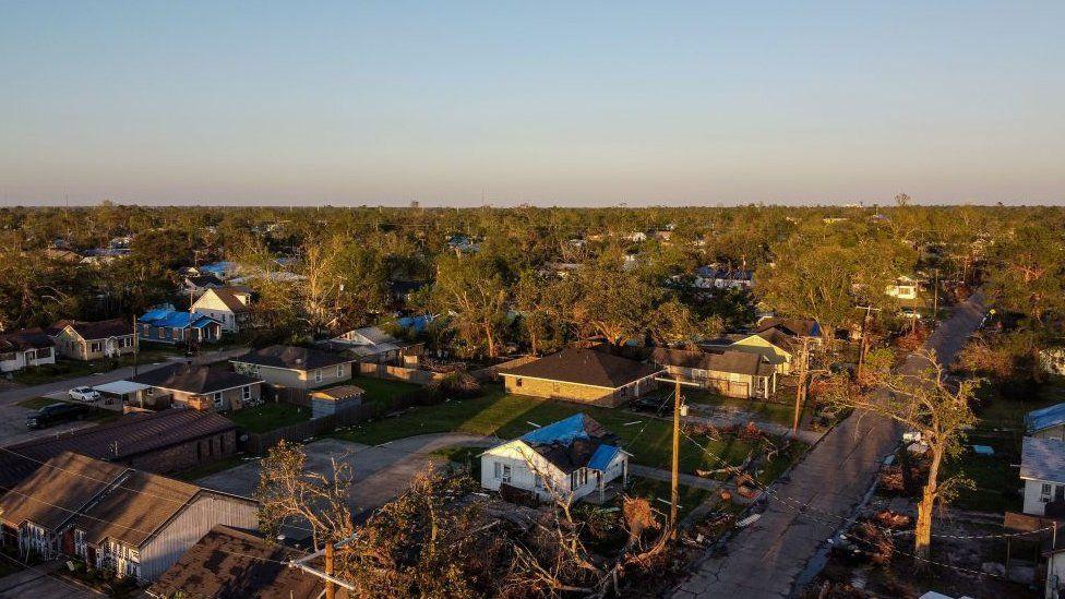 Aerial view of Lake Charles, Louisiana