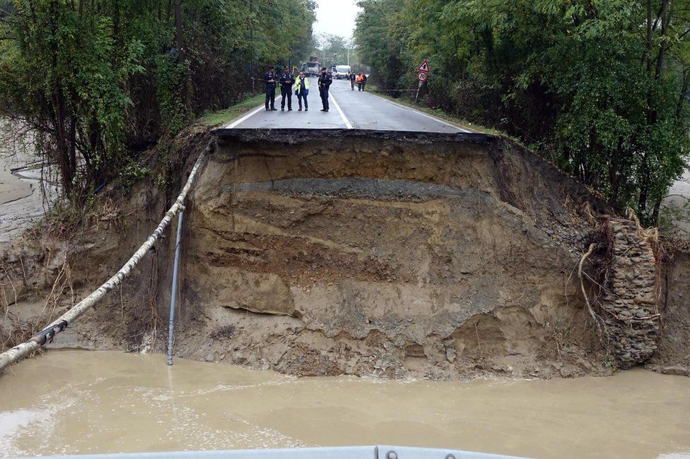 A collapsed road