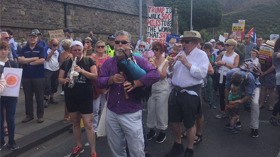 Musicians outside the Scottish Parliament