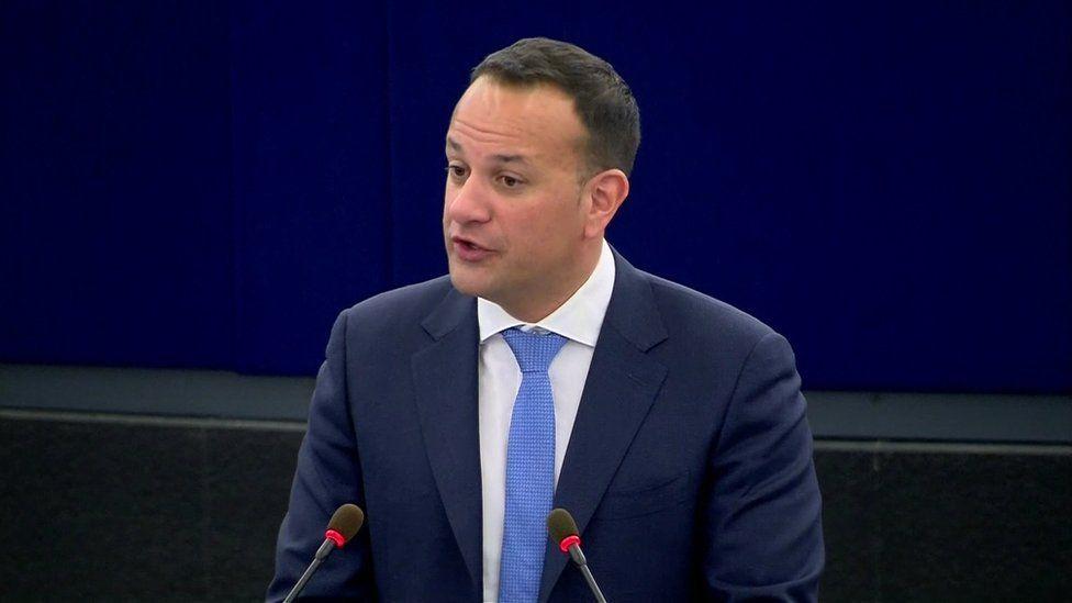 Leo Varadkar addressing the European Parliament in Brussels