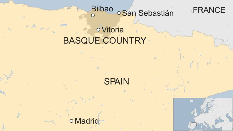 Spain's Basque country human chain map