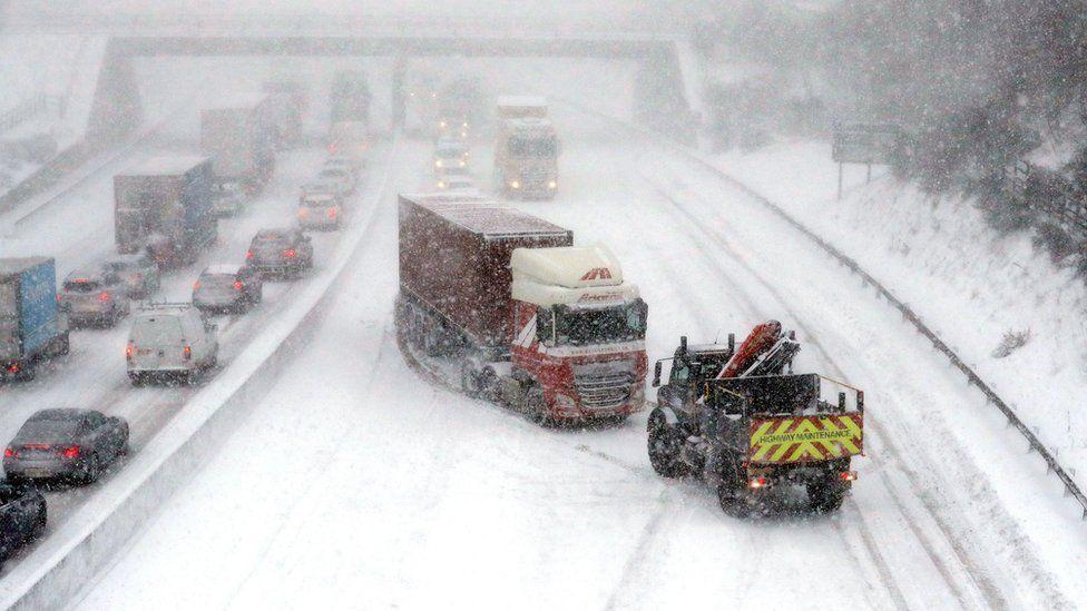 Lorry stuck in snow