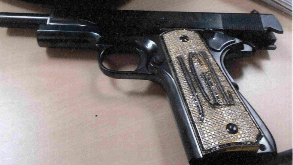 """A diamond-encrusted pistol that government witness Jesús Zambada said belonged to the accused Mexican drug lord Joaquin """"El Chapo"""" Guzman"""