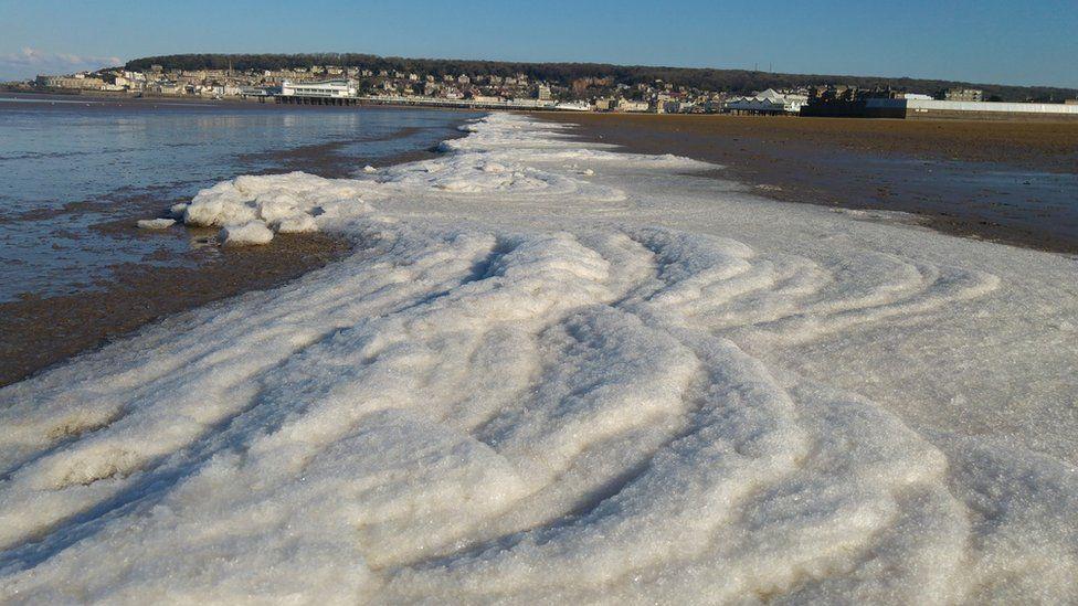 A frozen sea front at Weston-super-mare