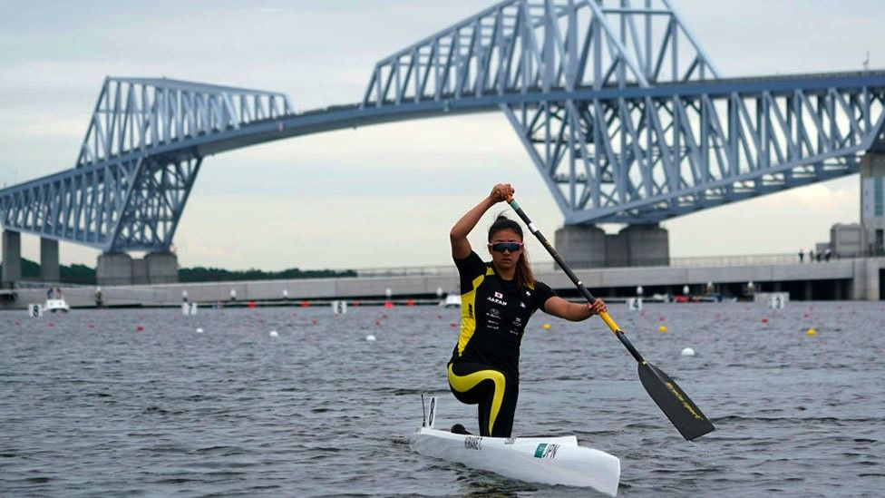 Teruko Kiriake of Japan goes to the start position at the Women's Canoe Single 200m final B during a canoe sprint test eventfor the Tokyo 2020 Olympic and Paralympic Games at Sea Forest Waterway