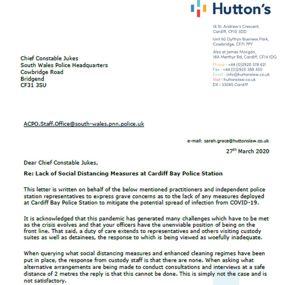 The letter sent to the police