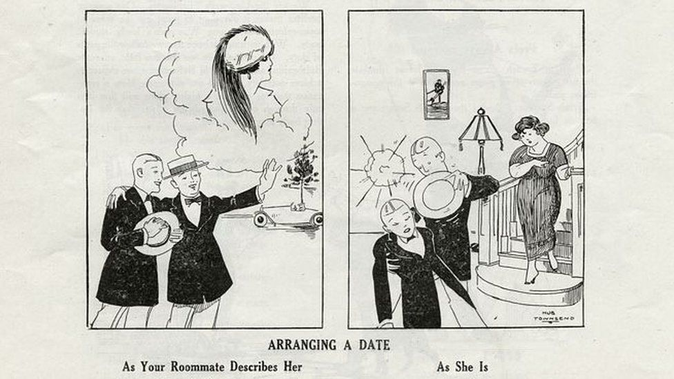"""The cartoon is called 'Arranging a Date'. On the left of the cartoon, one man describes a beautiful woman to another man captioned """"As Your Roommate Describes Her"""". On the right of the image, the woman is supposedly unattractive by 1919 standards and is captioned """"As She Is""""."""