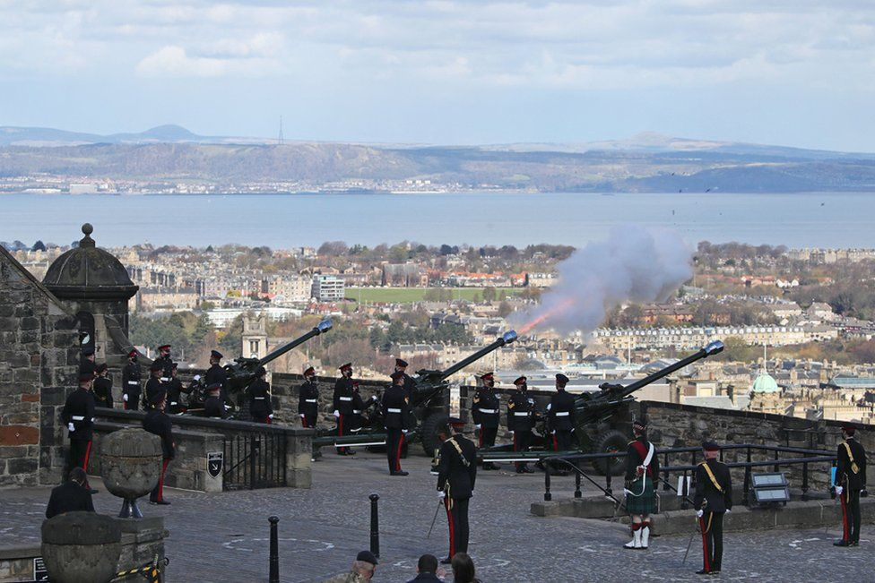 The Death Gun Salute is fired by the 105th Regiment Royal Artillery to mark the passing of Britain's Prince Philip, Duke of Edinburgh, at Edinburgh Castle in Edinburgh, Scotland on April 10, 2021