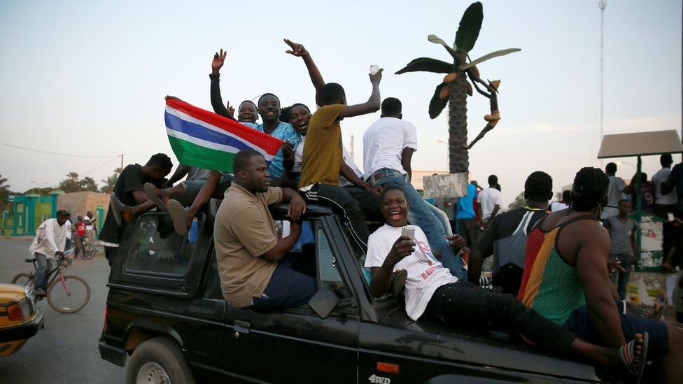 "Gambians gather at Westfield junction to celebrate the swearing-in of Gambia""s new President Adama Barrow in Banjul, Gambia (January 19, 2017)"
