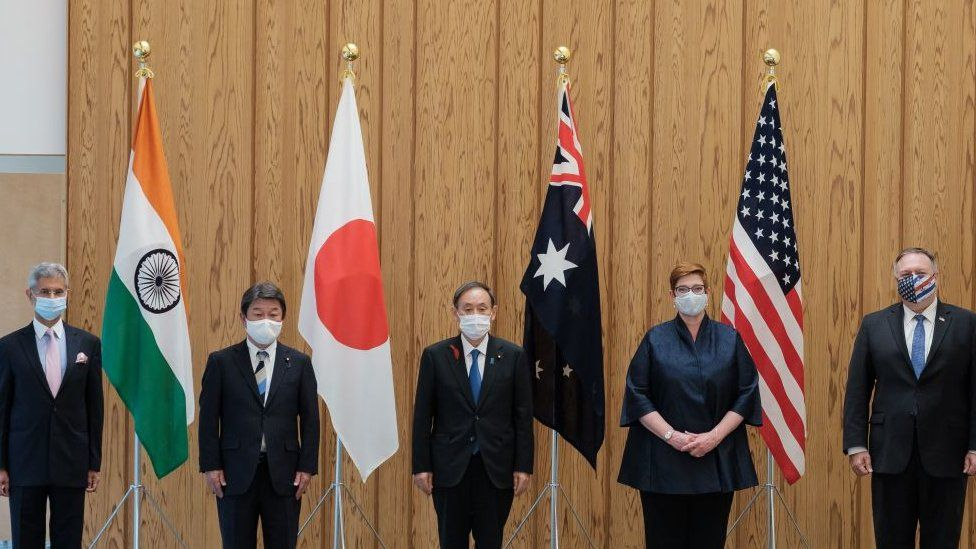 (L-R) India's Foreign Minister Subrahmanyam Jaishankar, Japan's Foreign Minister Toshimitsu Motegi, Japan's Prime Minister Yoshihide Suga, Australia's Foreign Minister Marise Payne and US Secretary of State Mike Pompeo