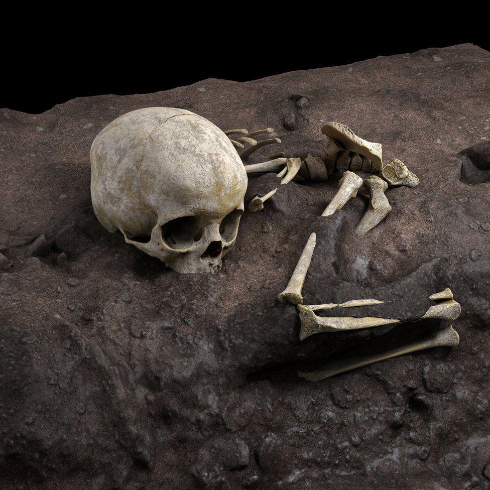 Virtual ideal reconstruction of Mtoto's position in the burial pit (c) Jorge González/Elena Santos