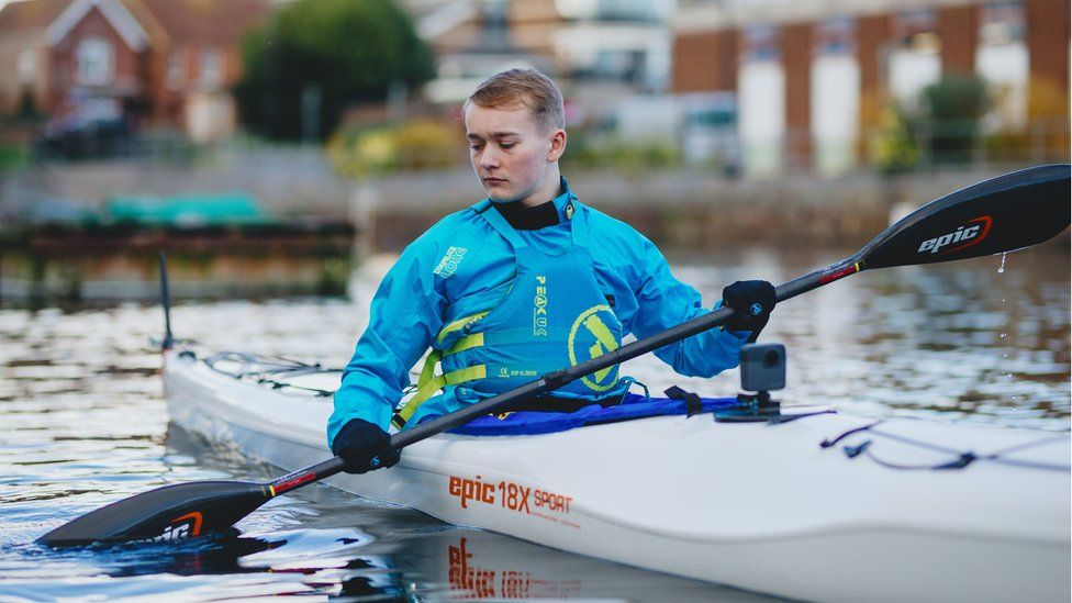 Monger trains in a kayak