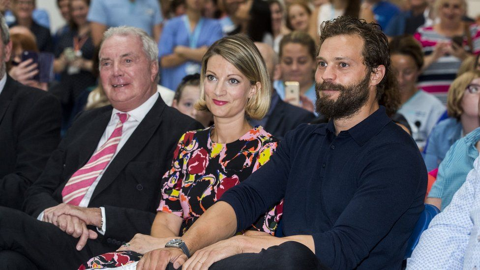 Jamie Dornan with his sister Jessica and his father Jim
