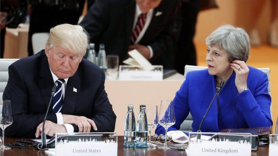 US President Donald Trump and UK PM Theresa May at the G20