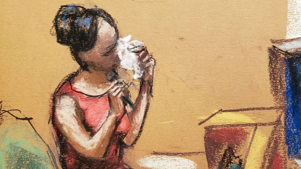 The former dancer known as Angela was depicted by a court artist