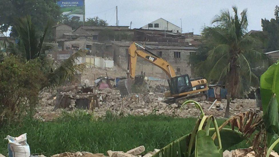 A digger at a demolition site in Dar es Salaam, Tanzania