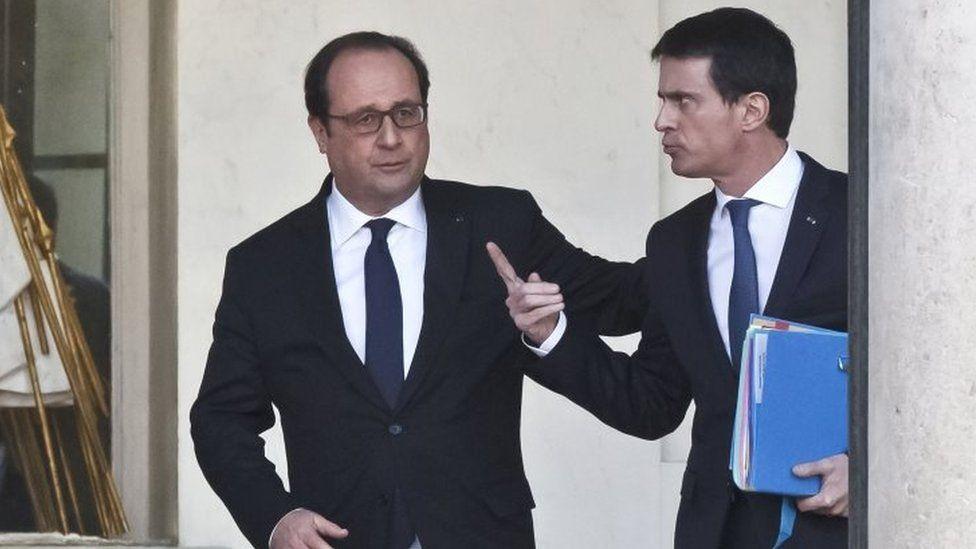 President Francois Hollande (left) and Prime Minister Manuel Valls. Photo: February 2016