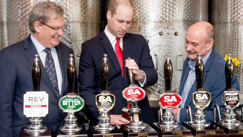 Prince William opened the new Brains brewery in Cardiff Bay in 2019