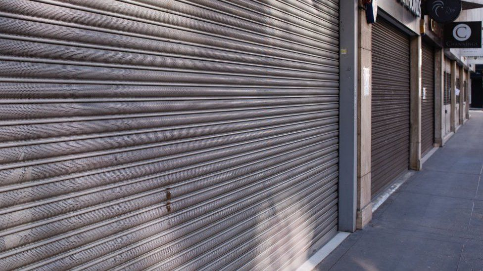 Jewellery shops stand shuttered on a deserted Hatton Garden in the Clerkenwell district of London.