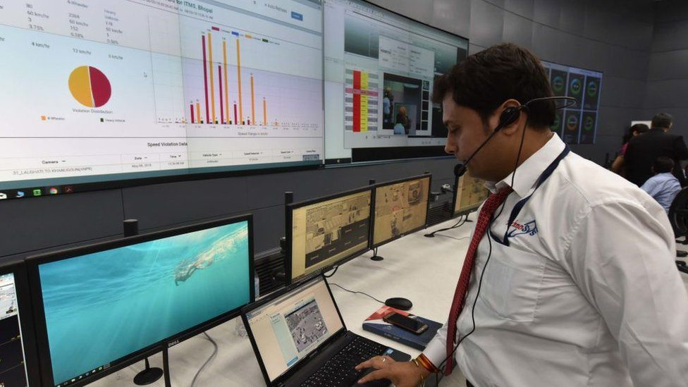 Control and command centre of Bhopal smart city project inaugurated in May 2018 in Bhopal in Madhya Pradesh state