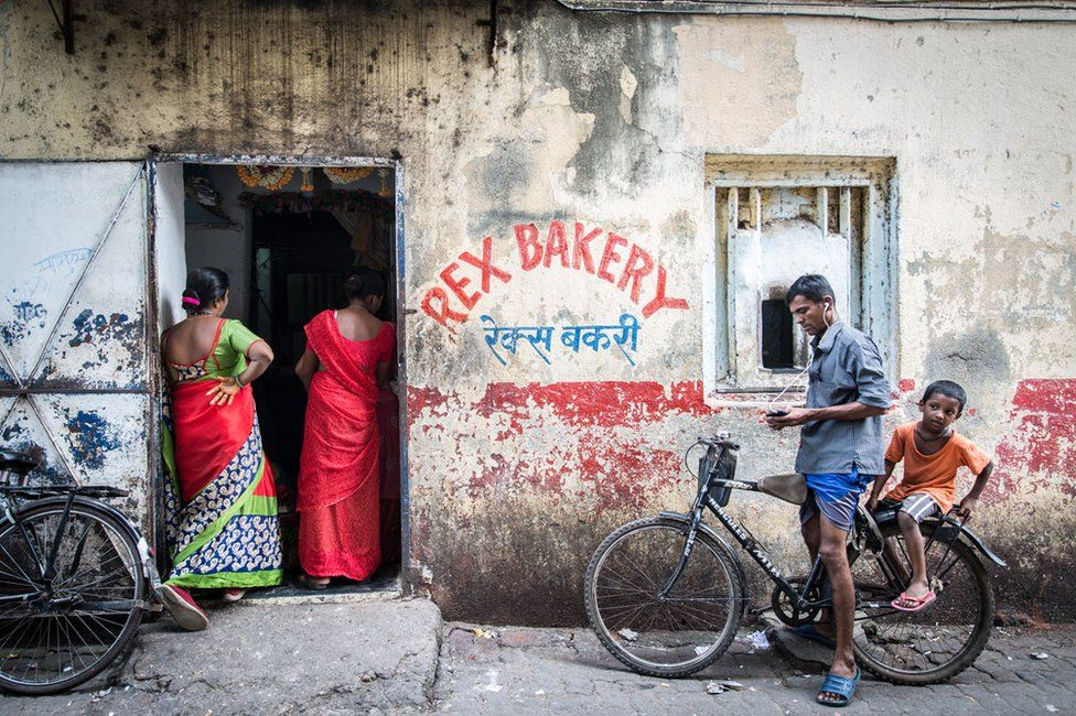 Women queuing up to place their bread orders the day before Diwali in Mumbai