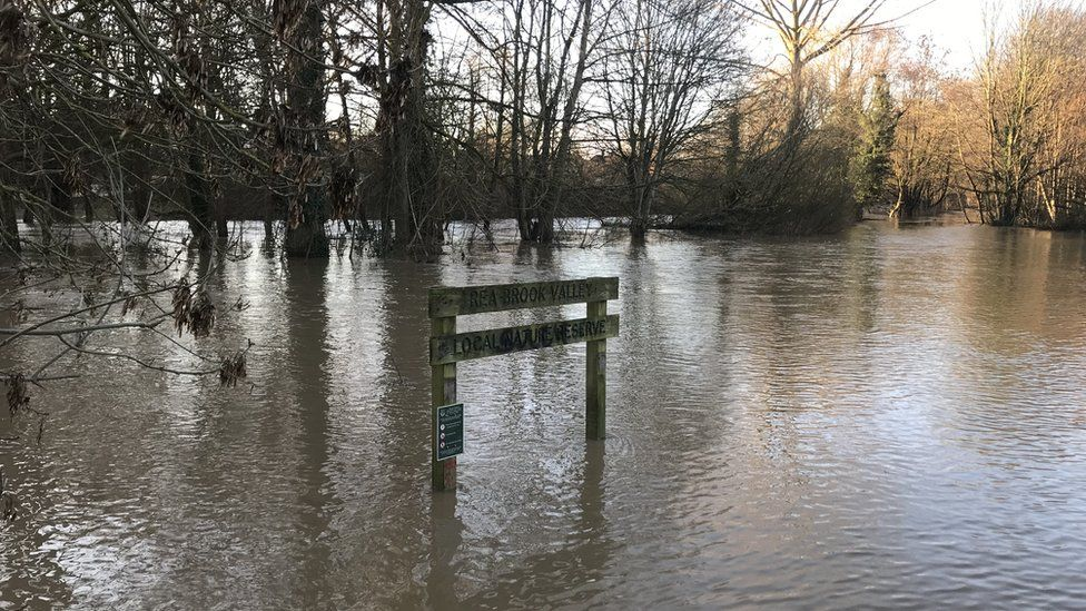 Flooded Rea Brook and surrounding valley in the Meole Brace area of Shrewsbury