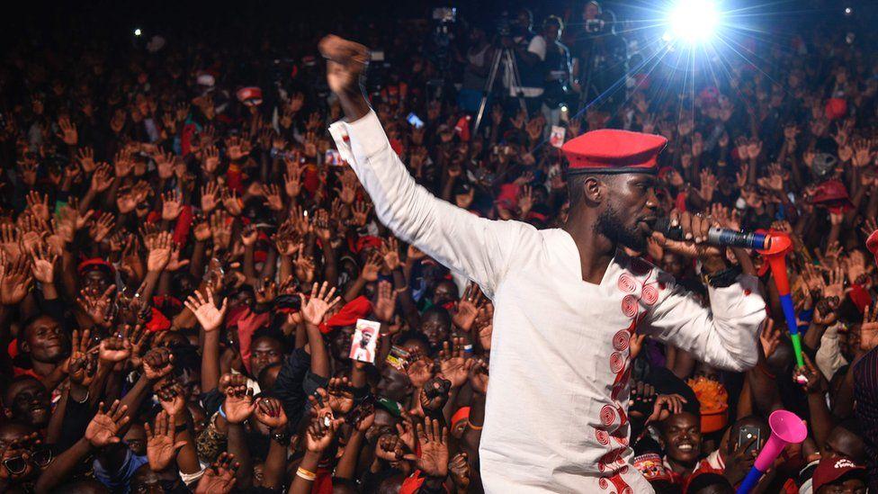 Bobi Wine performing in on stage in Kampala, Uganda - Saturday 10 November 2018