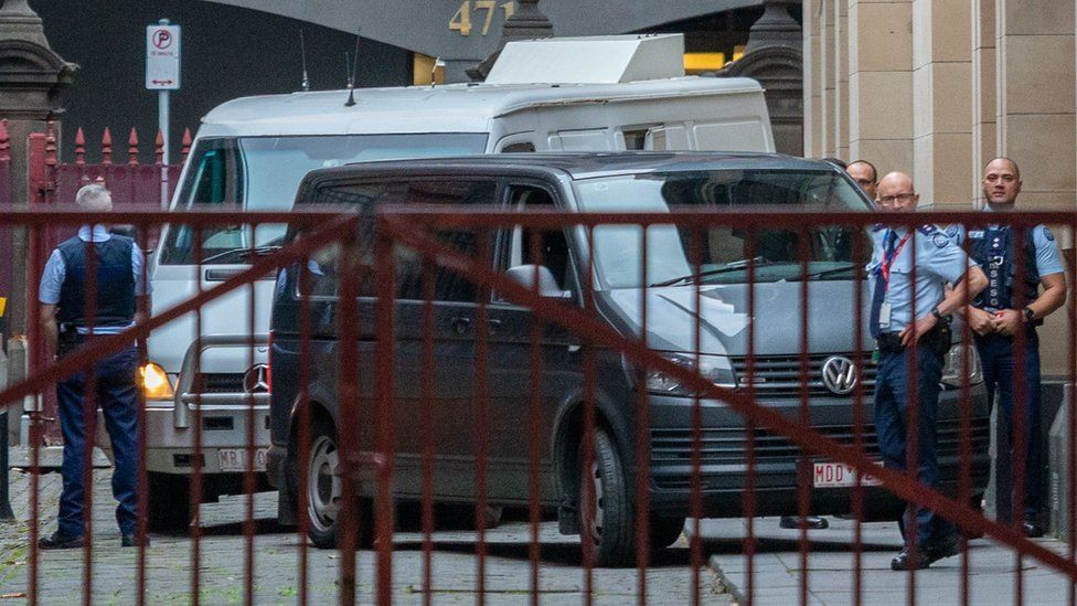 Prison van transporting George Pell outside the Melbourne court where his appeal is being heard