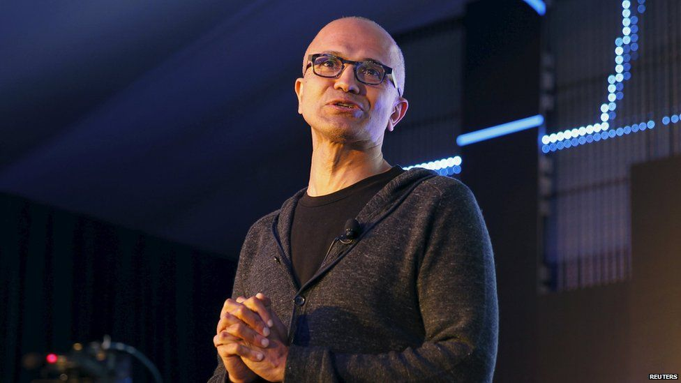 """Microsoft CEO Satya Nadella addresses delegates during the launch of the Windows 10 operating system in Kenya""""s capital Nairobi, July 29, 2015."""