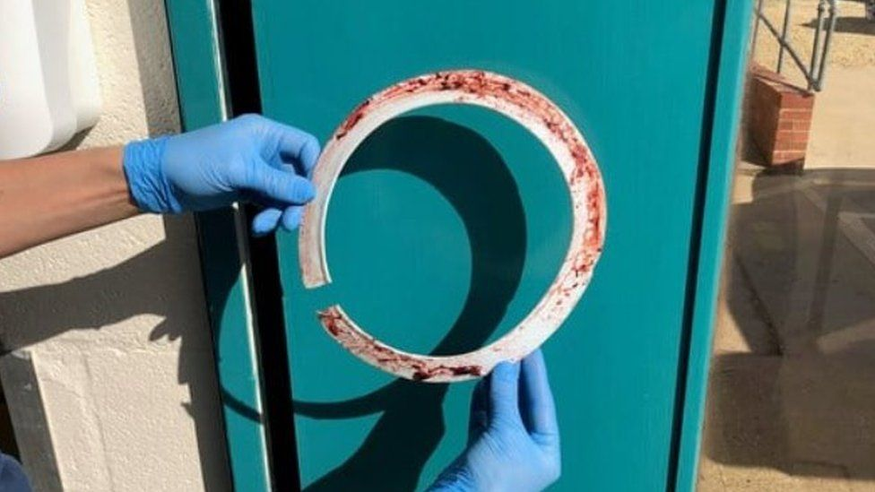 Plastic ring removed from seal