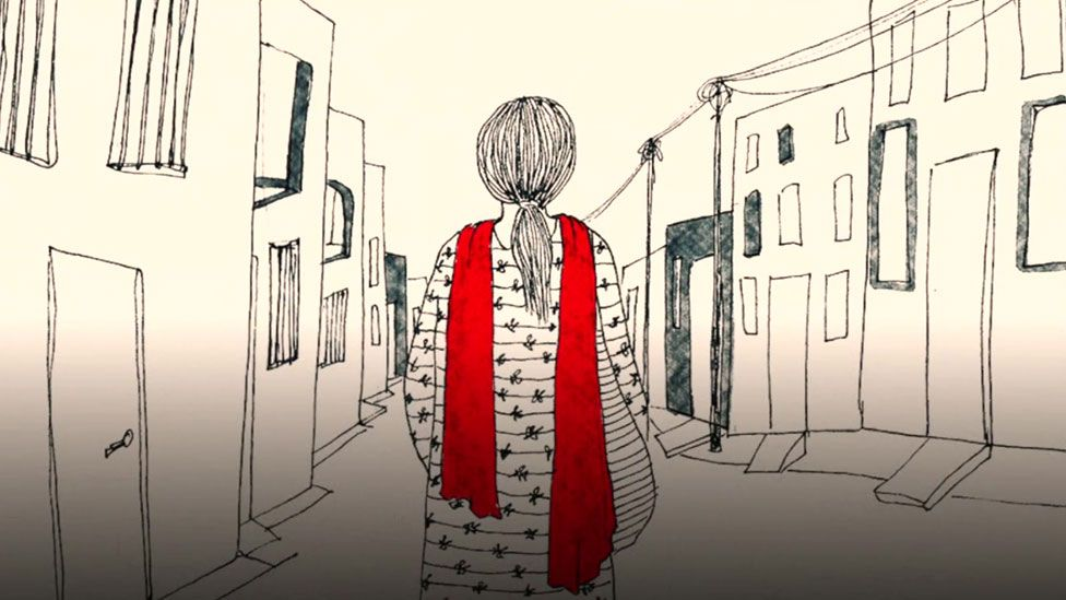 Geeta walking down street