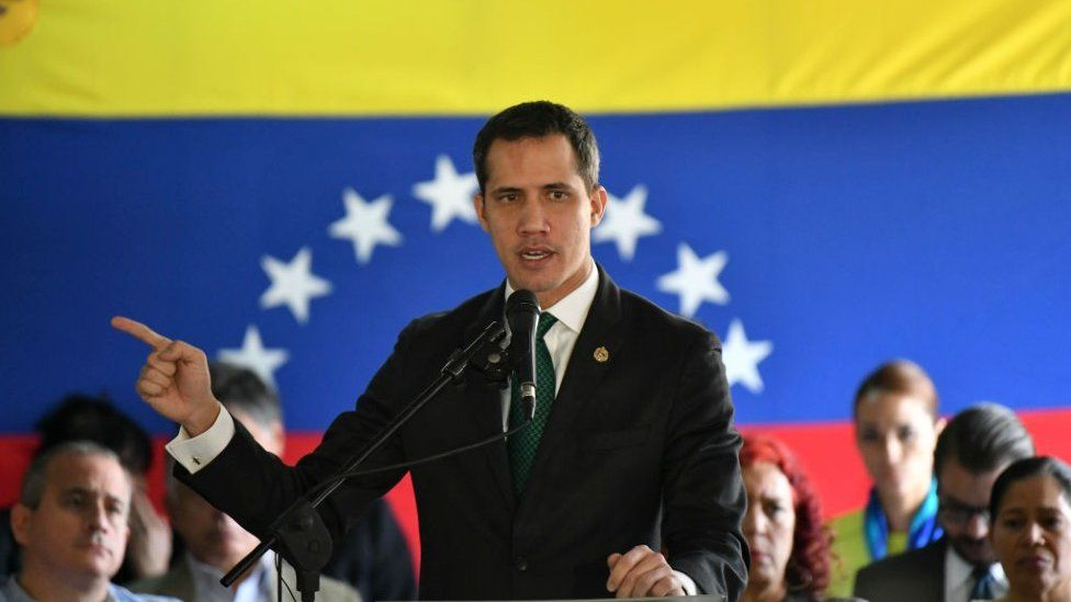Venezuelan opposition leader Juan Guaido, recognized by many members of the international community as the country's rightful interim ruler, talks to press to give details of the Anti-Maduro demonstration called for Tuesday 10th on March 9, 2020 in Caracas, Venezuela.