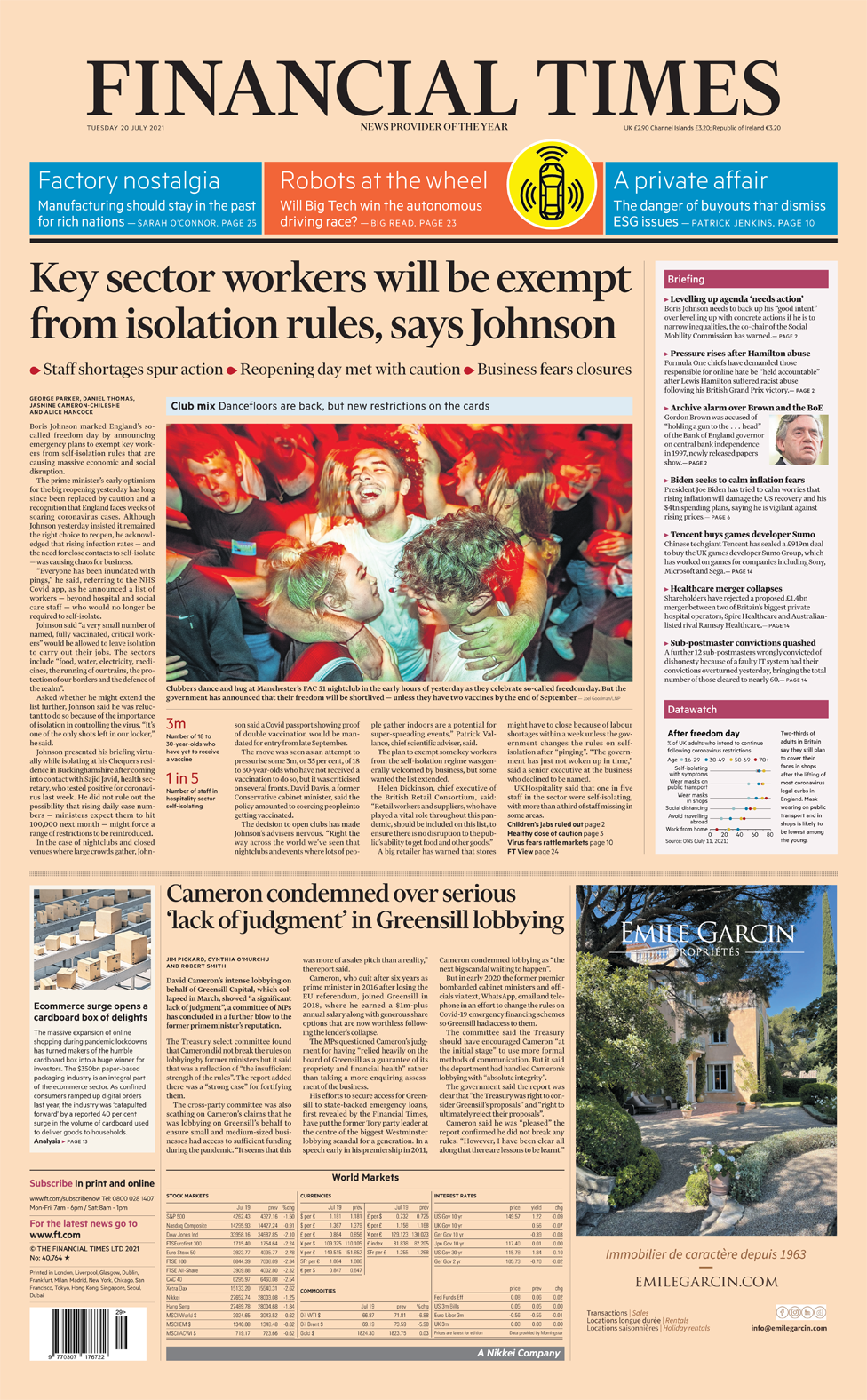 Financial Times front page 20/07/21