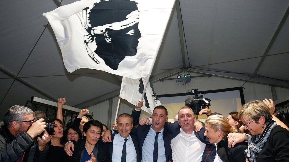 Corsican nationalists celebrate, 10 Dec 17